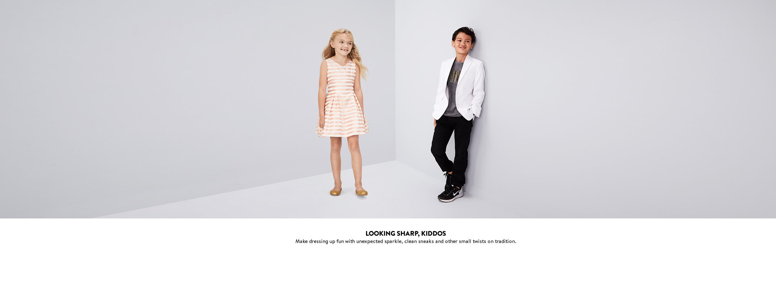 Looking sharp, kiddos. Make dressing up fun with some unexpected sparkle.