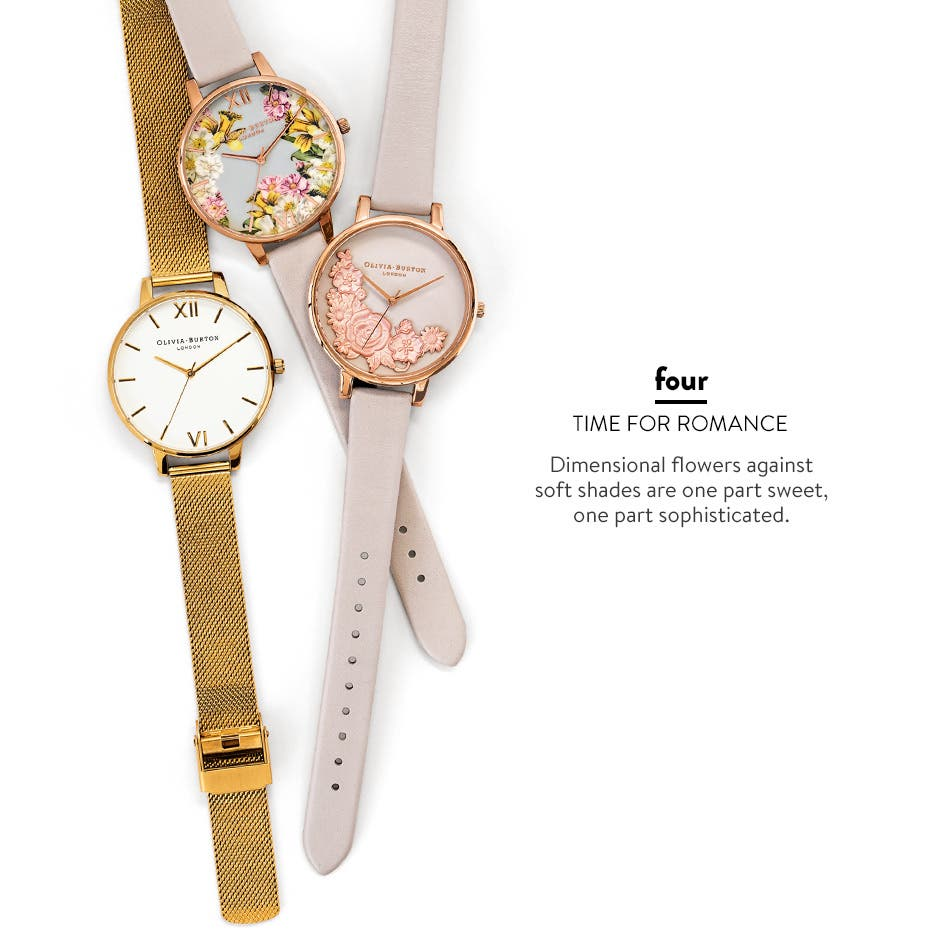 Time for romance: sweet, sophisticated watches.