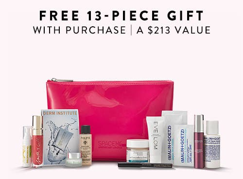 Free 13-piece gift with purchase. A $213 value.