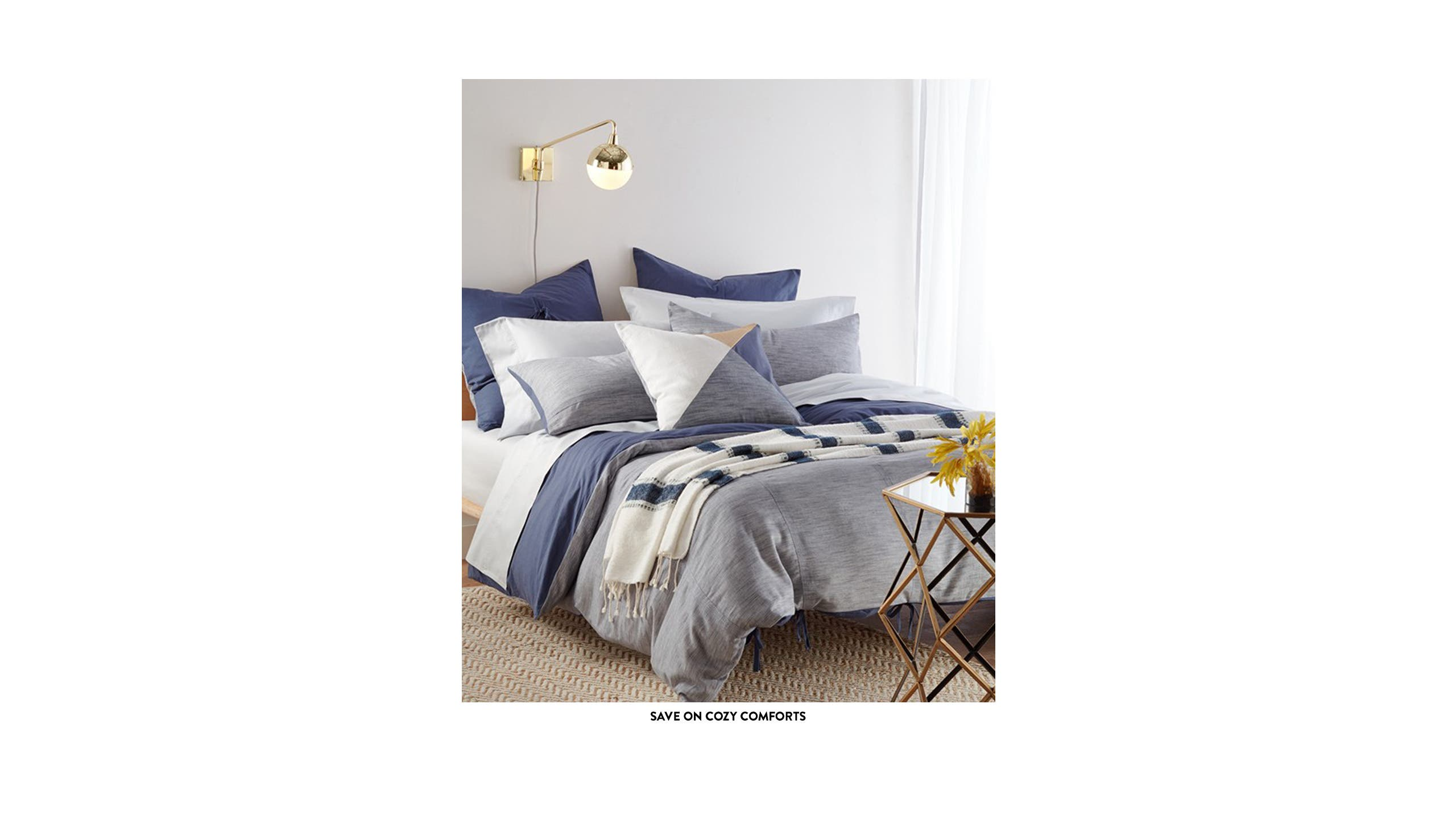 Cozy comforts: bedding on sale.