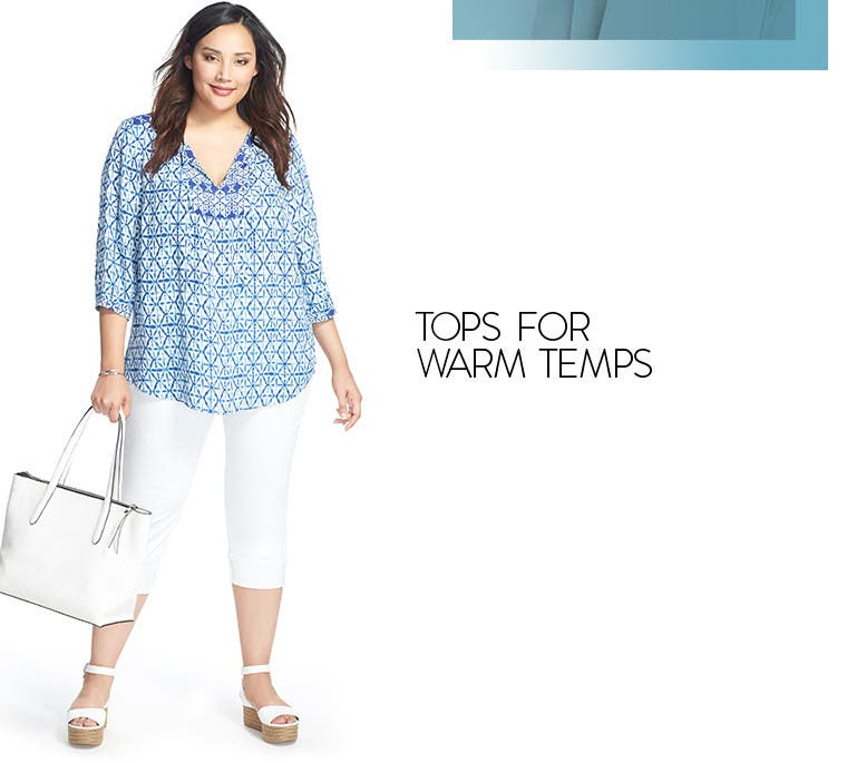 Plus-size tops for warm temps.