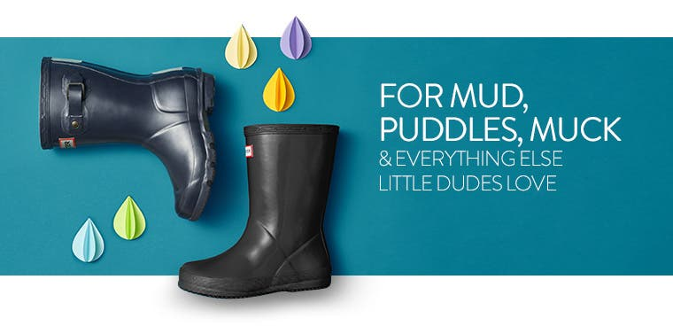 For mud, puddles, muck and everything else little dudes love. Boys' rain boots.