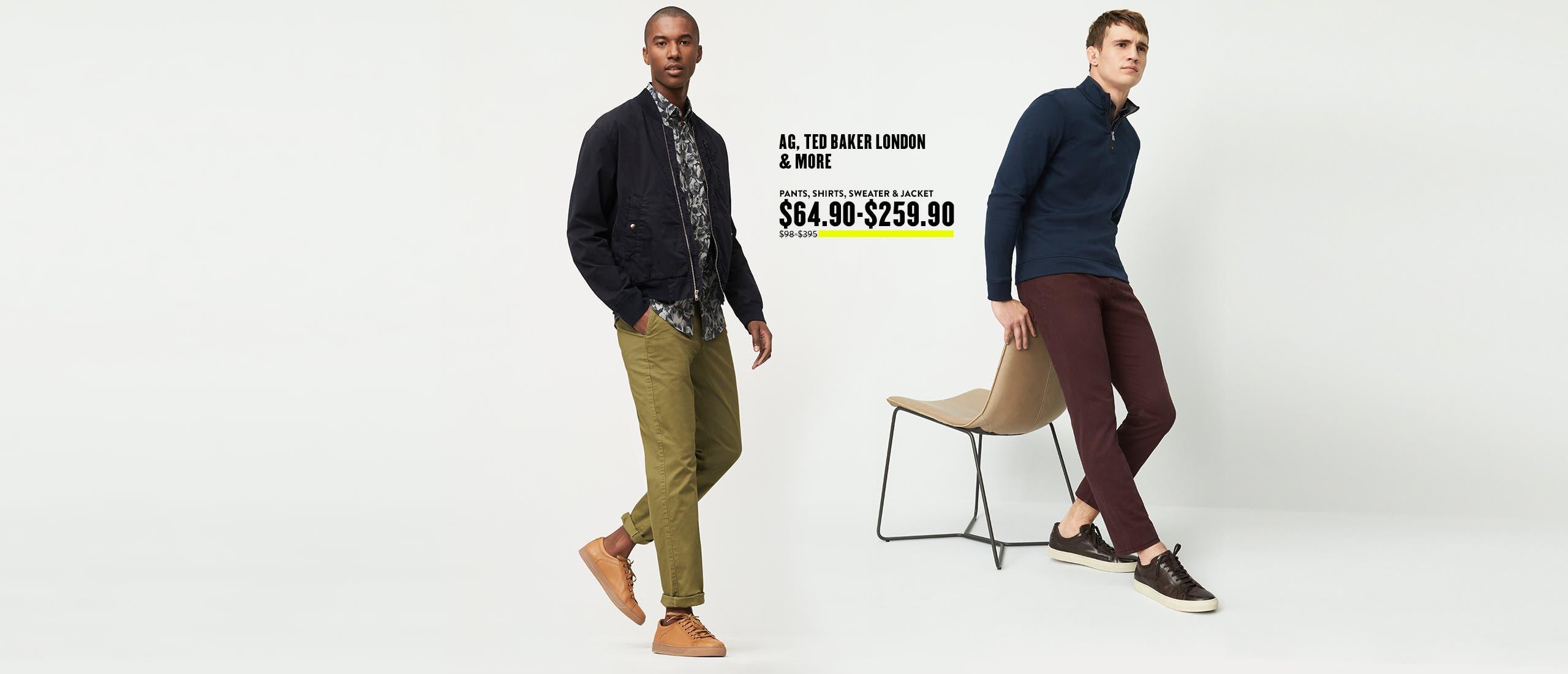 Pants, Shirts, Sweater & Jacket $64.90-$259.90.