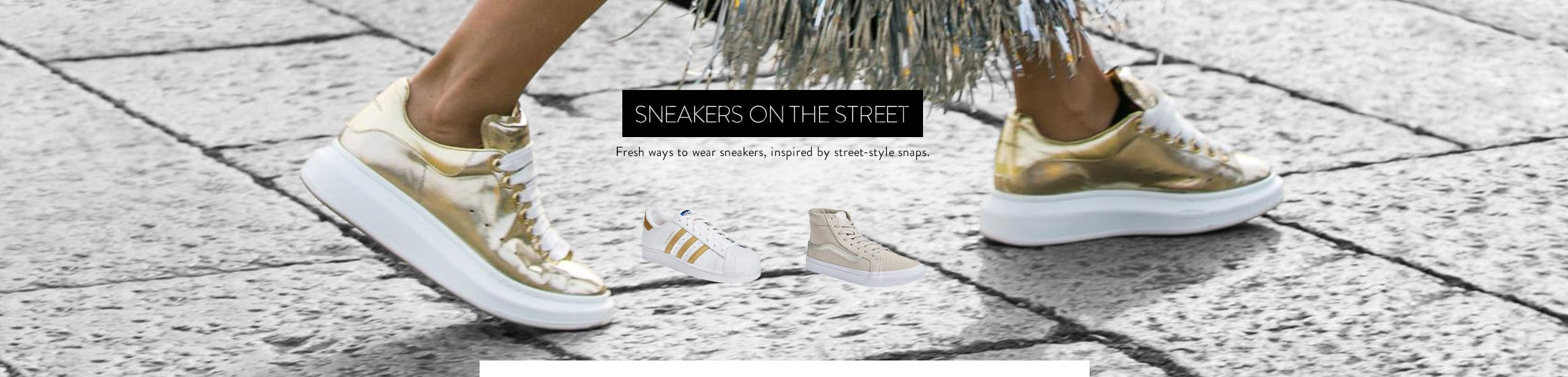 Women's sneakers on the street.