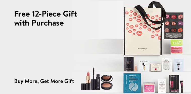 Free 12-piece gift with purchase. Buy more, get more gift.