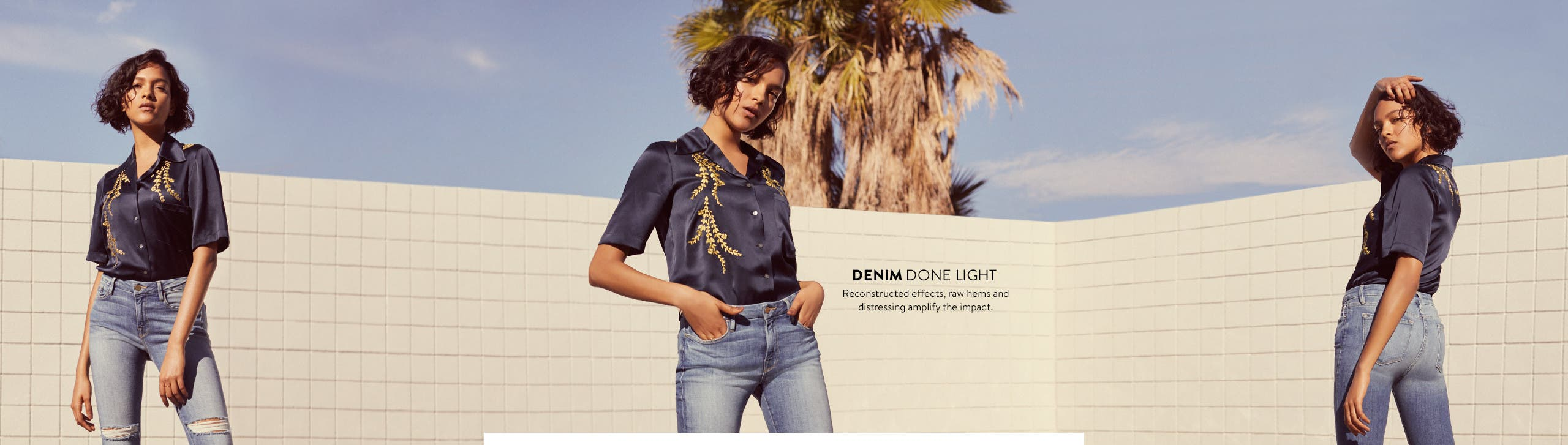 Light-wash women's denim.