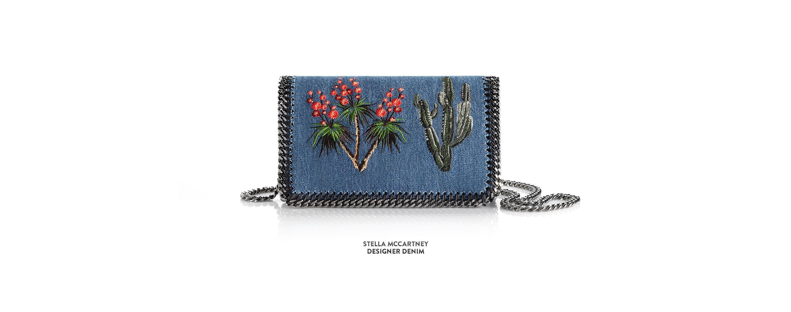 Stella McCartney embroidered denim shoulder bag and more designer handbags.
