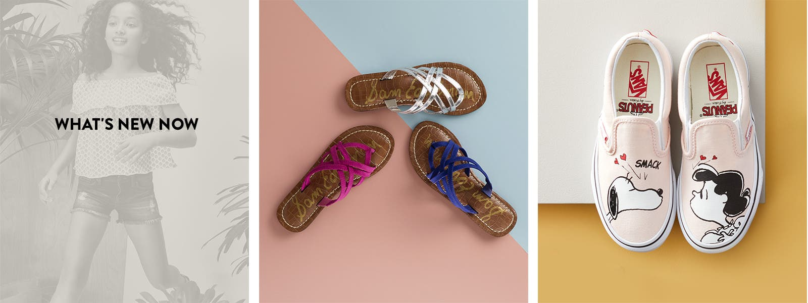 New summer sandals, slip-ons and sneakers for girls.
