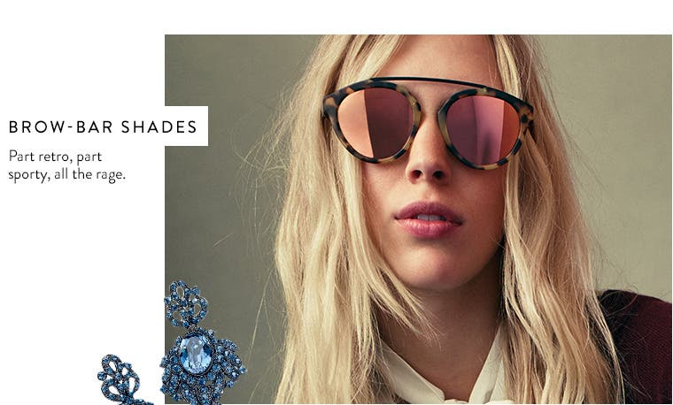 Women's brow-bar sunglasses.