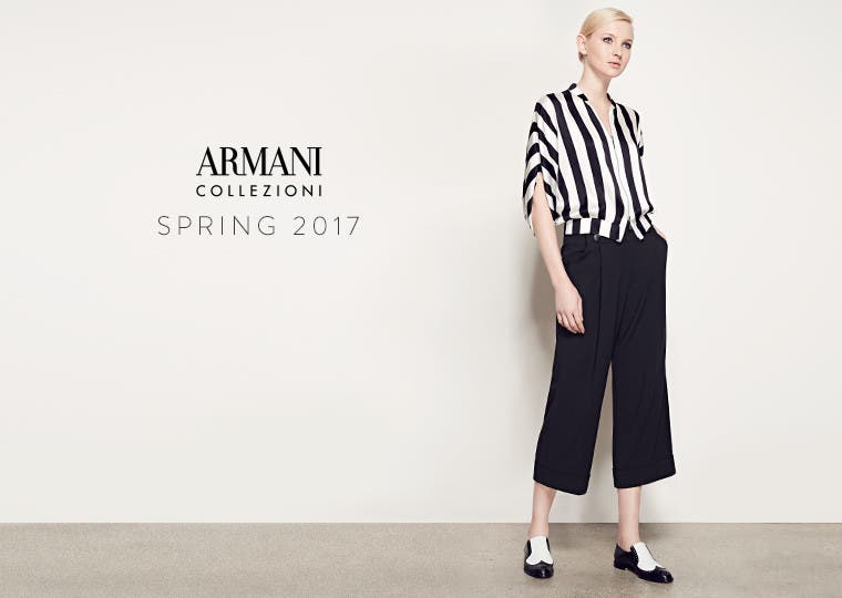 Armani Collezioni for women and men.
