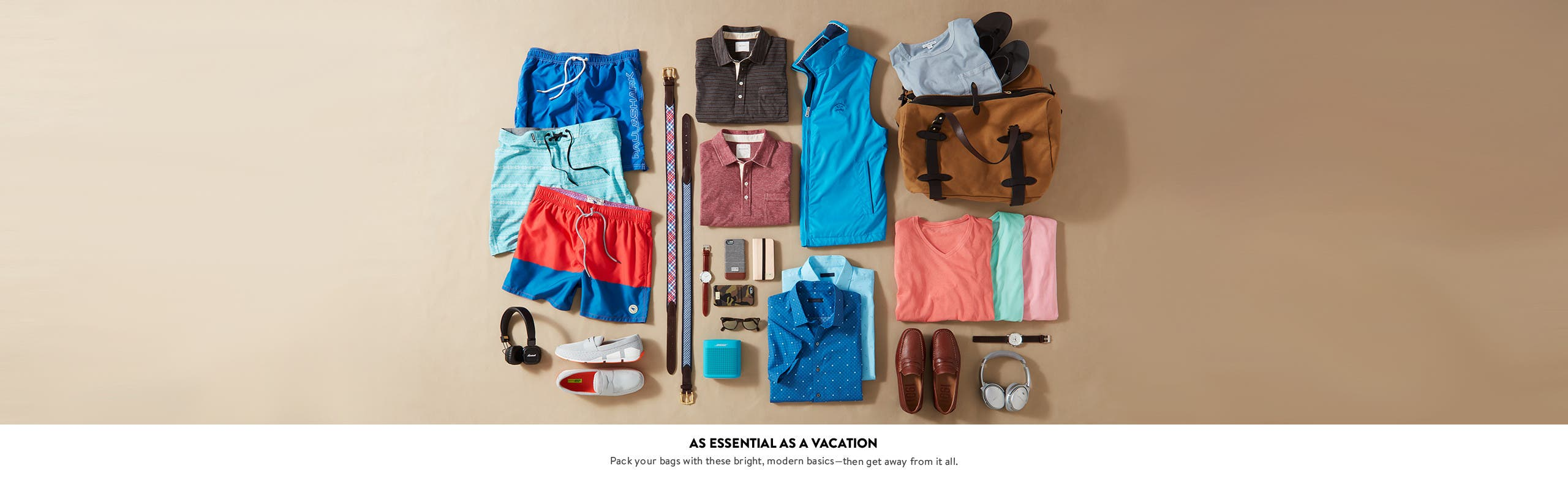Vacation and resort essentials, from swimwear and sandals to belts, shirts and more.
