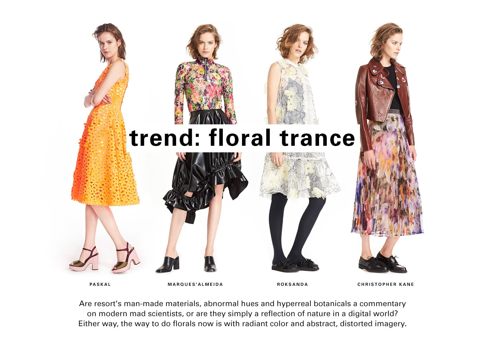SPACE trend: floral trance. Hyperreal botanicals, radiant color and abstract, distorted imagery combines for one of our favorite resort season trends.