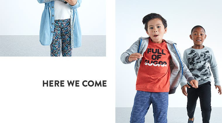 Here we come. New shirts, pants and more for little boys.