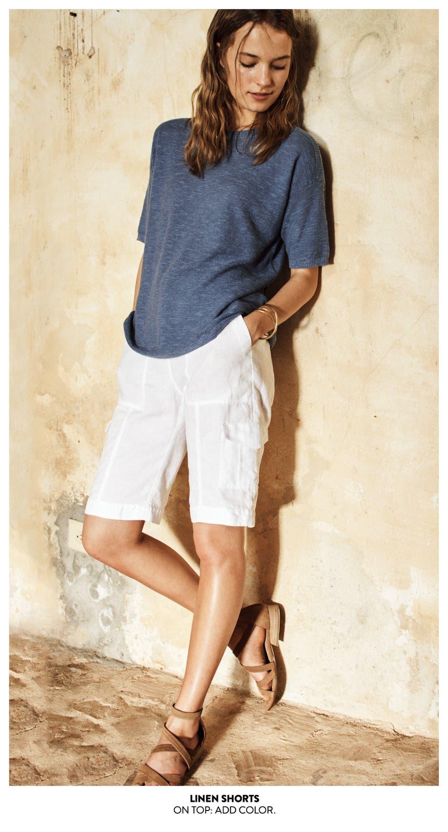 Linen shorts.