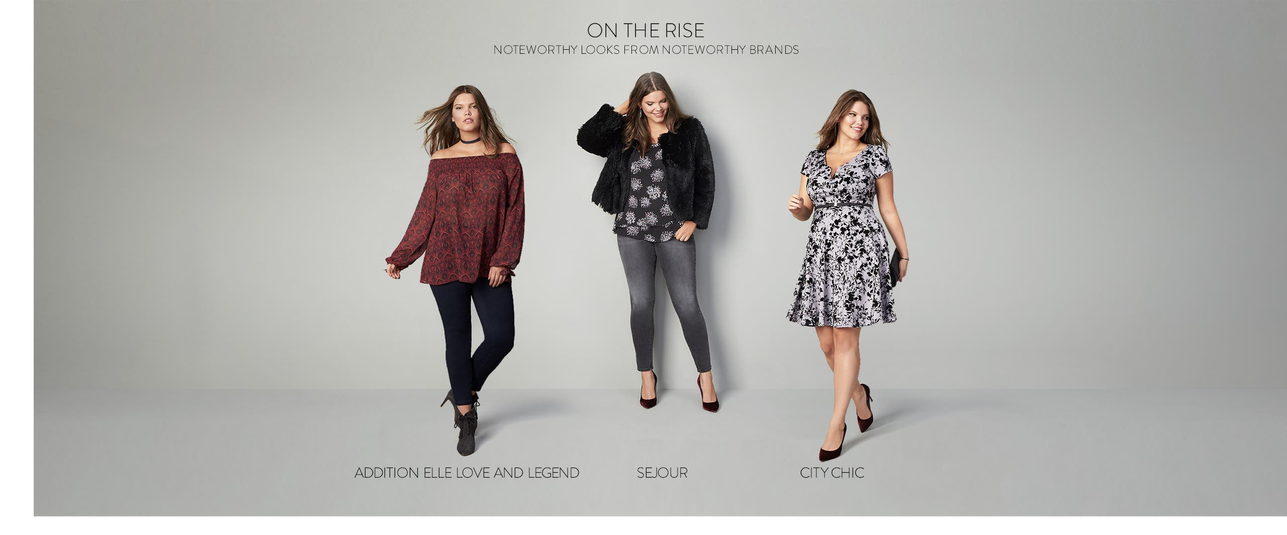 Noteworthy looks from noteworthy brands: ADDITION ELLE LOVE AND LEGEND, Sejour and City Chic.