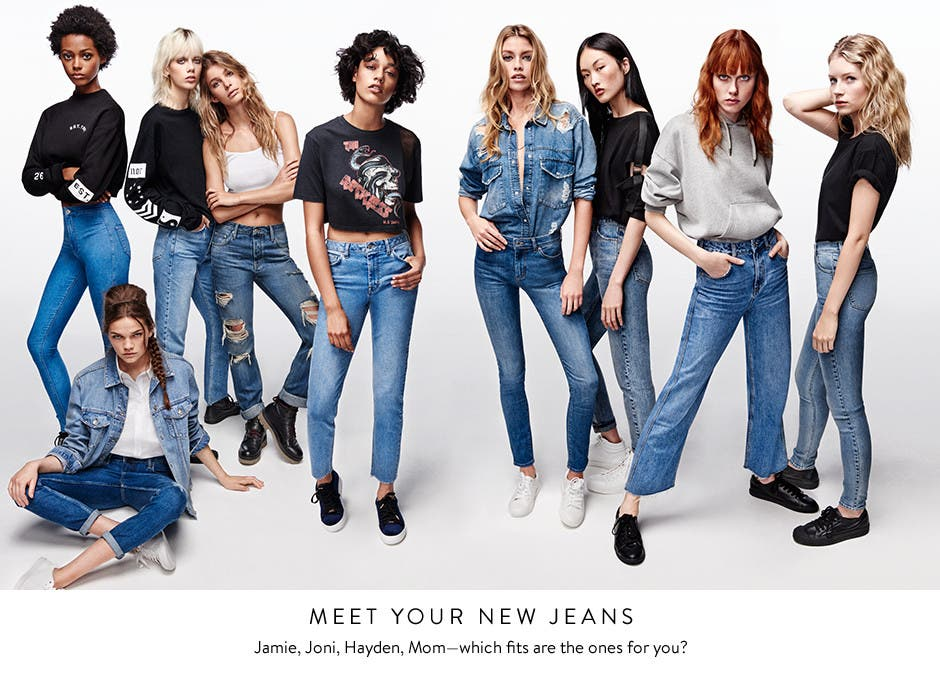 Meet your new Topshop jeans: Jamie, Joni, Hayden, Mom. Which fits are the ones for you?