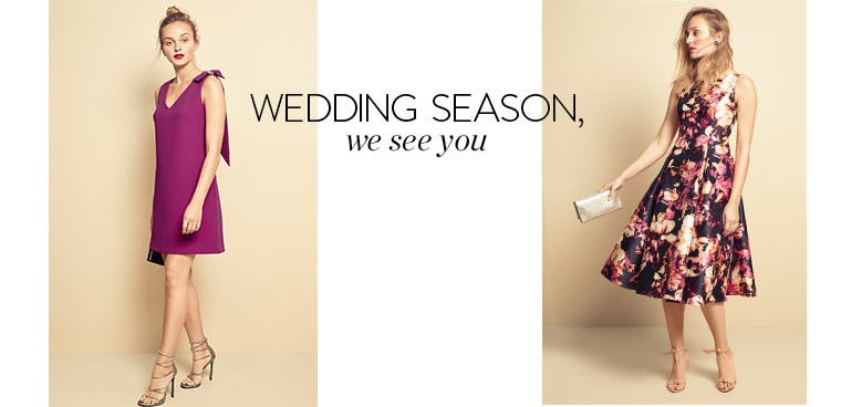 Wedding season, we see you. Women's wedding-guest dresses.