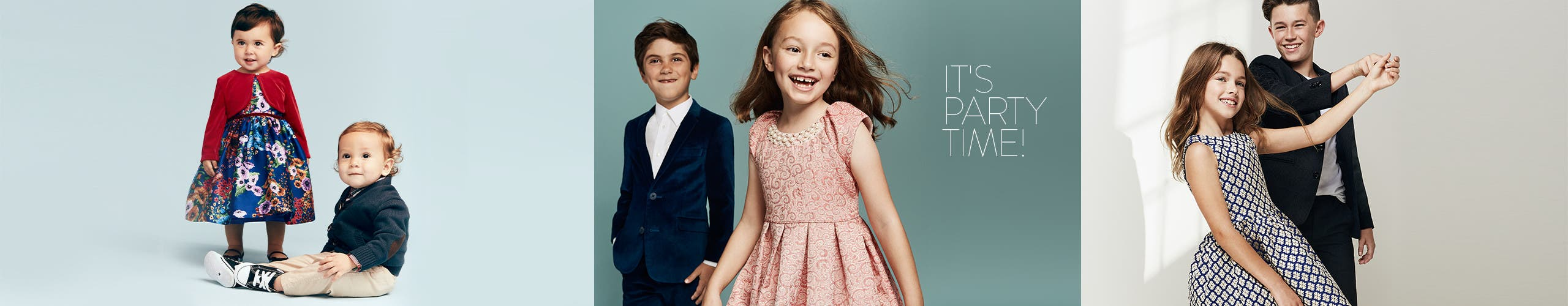 It's party time! Get them ready in kids' special-occasion clothing.