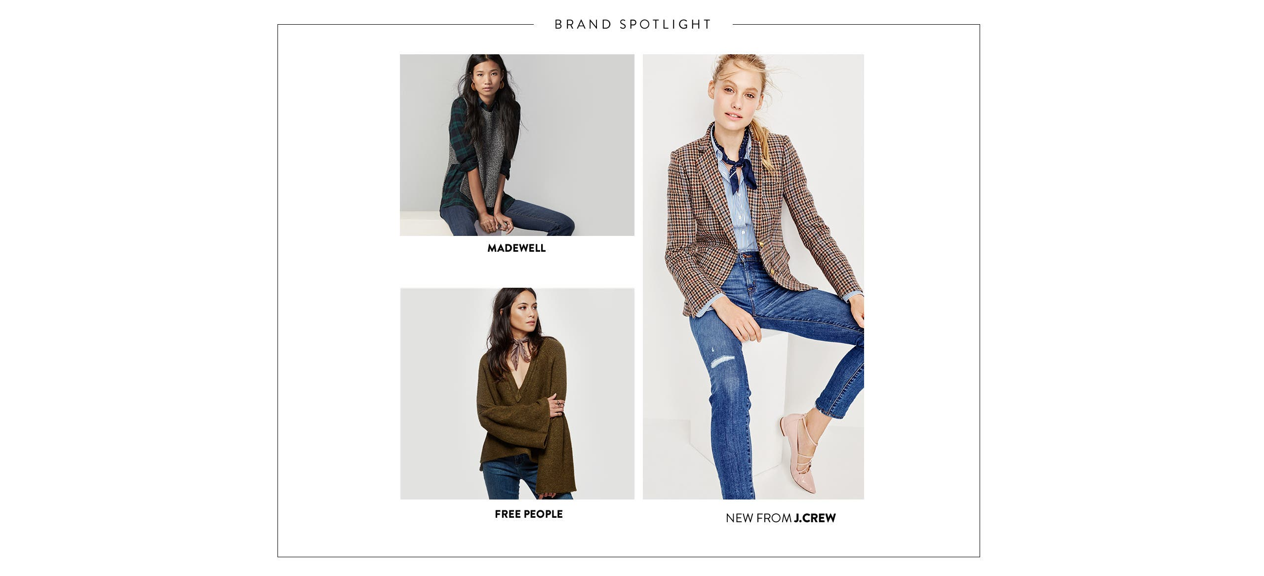 Madewell women's clothing. Free People women's clothing. J.Crew women's clothing.