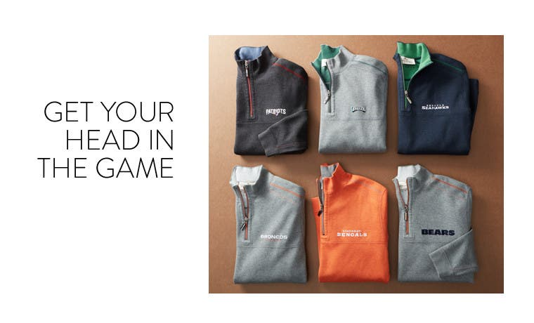 Get your head in the game. NFL gear.