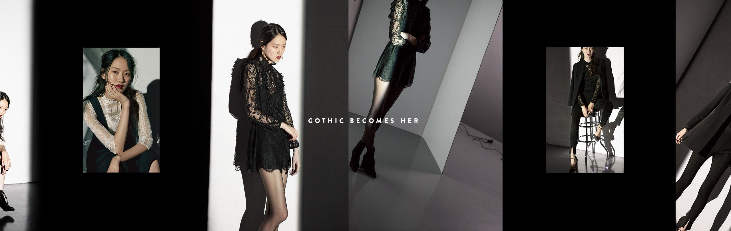 Gothic-inspired clothing, shoes and accessories.