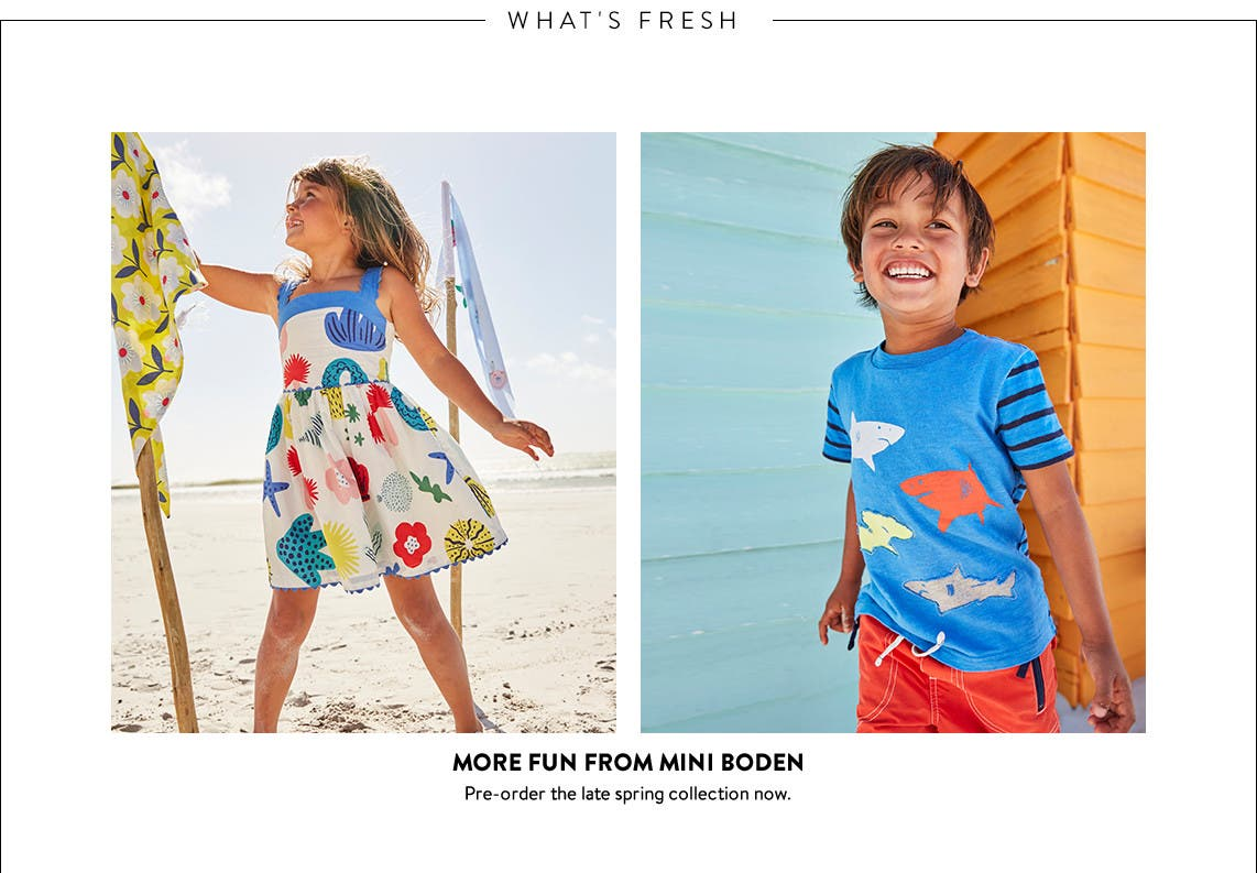 New Mini Boden clothing for kids and babies available for pre-order.