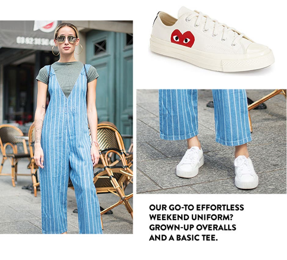 Our go-to effortless weekend uniform? Grown-up overalls and a basic tee.
