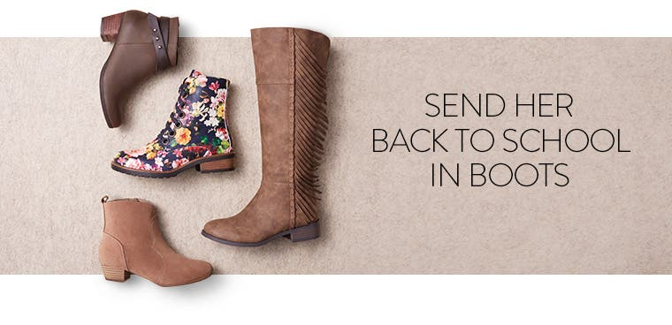 Send her back to school in boots.