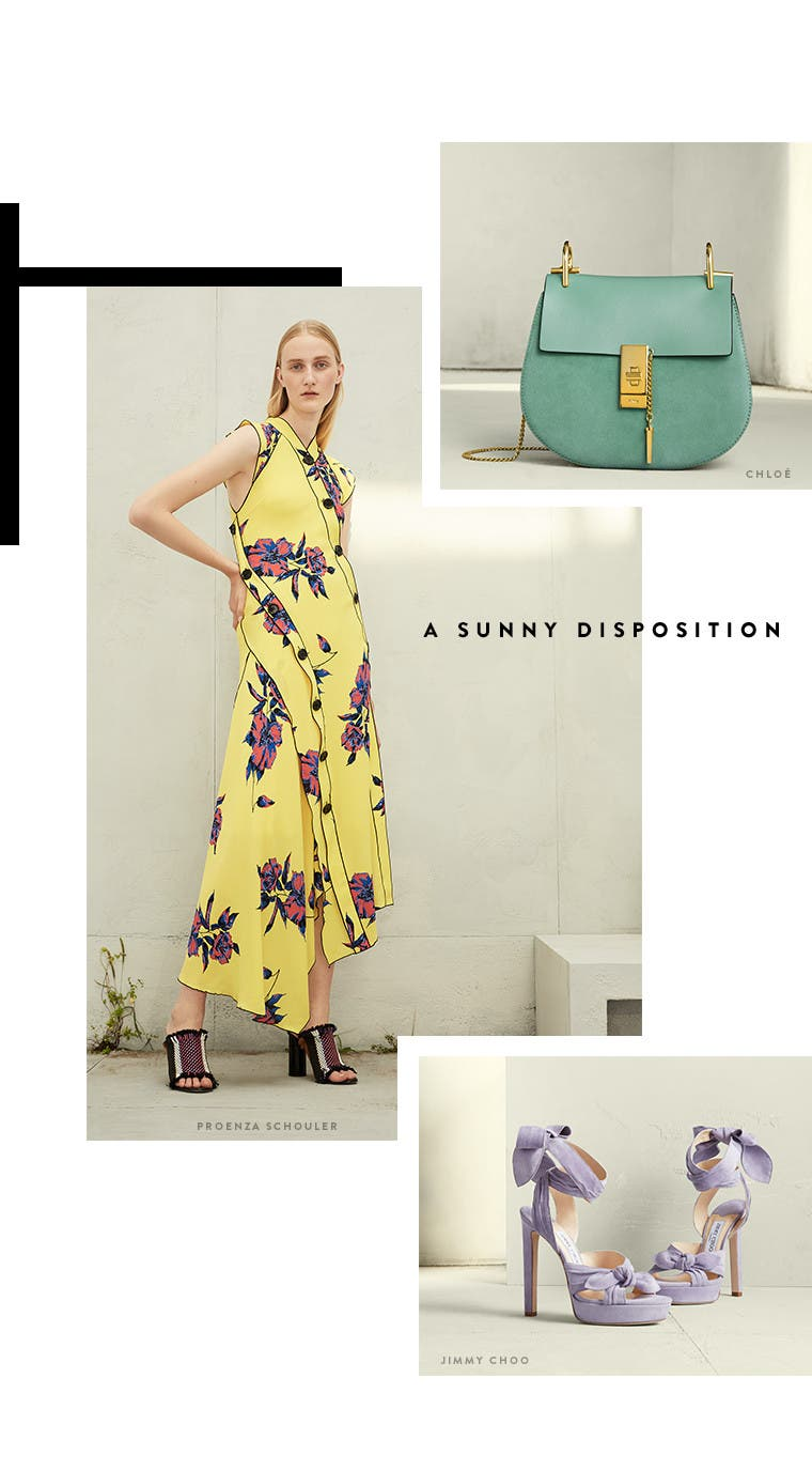 Resort 2017 designer trend: sunny disposition. Proenza Schouler dress, Chloé handbag and Jimmy Choo wraparound platform sandals.