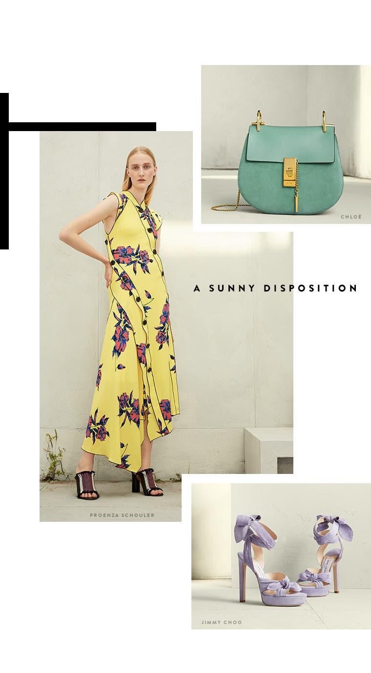 Resort 2017 designer trend: sunny disposition. Proenza Schouler dress, Chloé handbag and Jimmy Choo wraparound platform sandals.