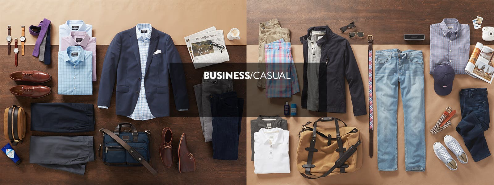 Business casual clothing for men.
