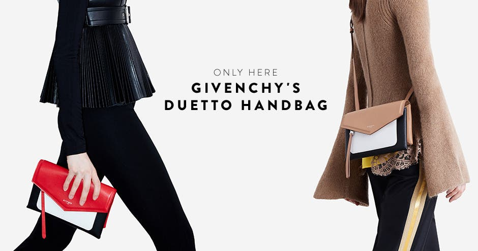Only here: exclusive launch of Givenchy's Duetto handbag.