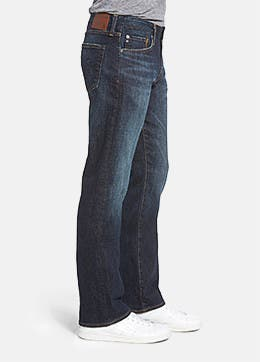 Men's Dark Blue Wash Jeans, Relaxed, Bootcut Fit & Selvedge Denim ...