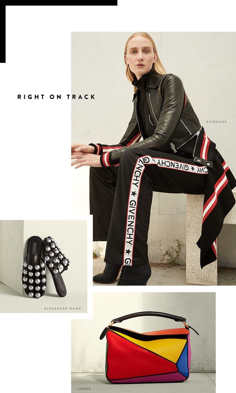 Resort 2017 designer trend: right on track. Givenchy leather jacket, Loewe puzzle bag and Alexander Wang slide sandals.