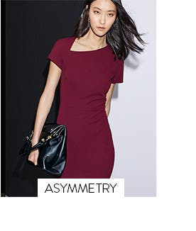 Work dresses with asymmetrical details.