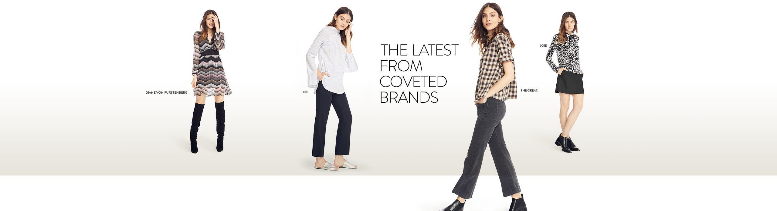 The latest contemporary women's clothing from coveted labels like Tibi, Diane von Furstenberg, Joie and The Great.