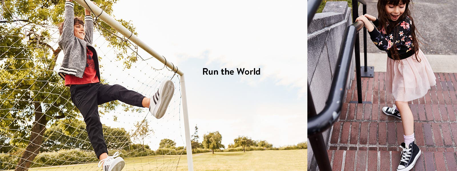 Run the world: kids' sneakers for boys and girls.