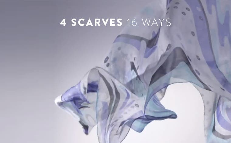 Play video about 4 scarves tied 16 ways.
