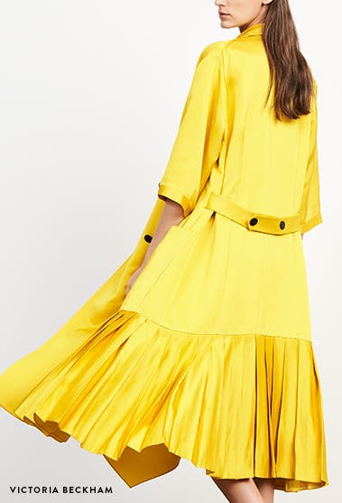 Designer new arrivals: Victoria Beckham midi dress and coat.
