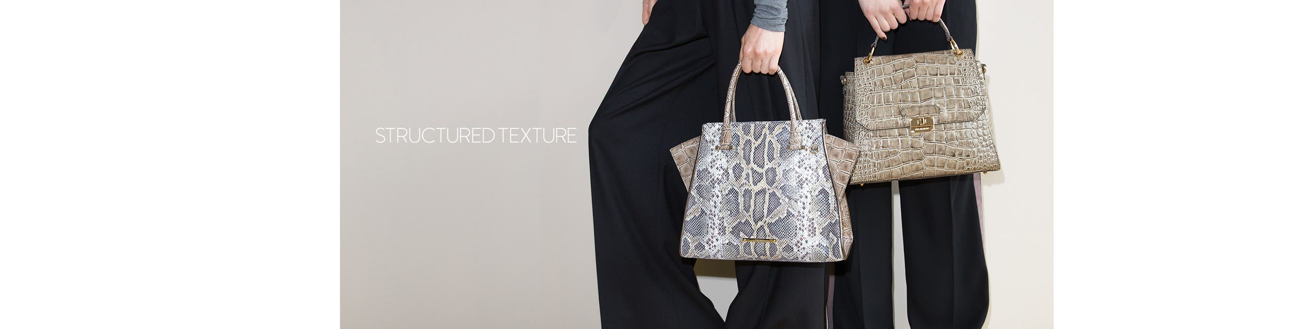 Structured texture: handbags.