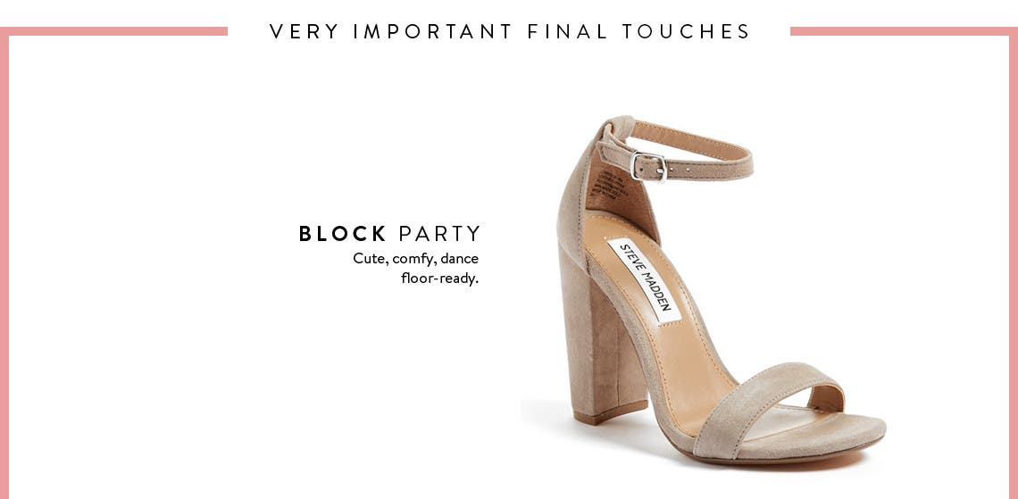 Prom shoes: block-heel sandals and more.
