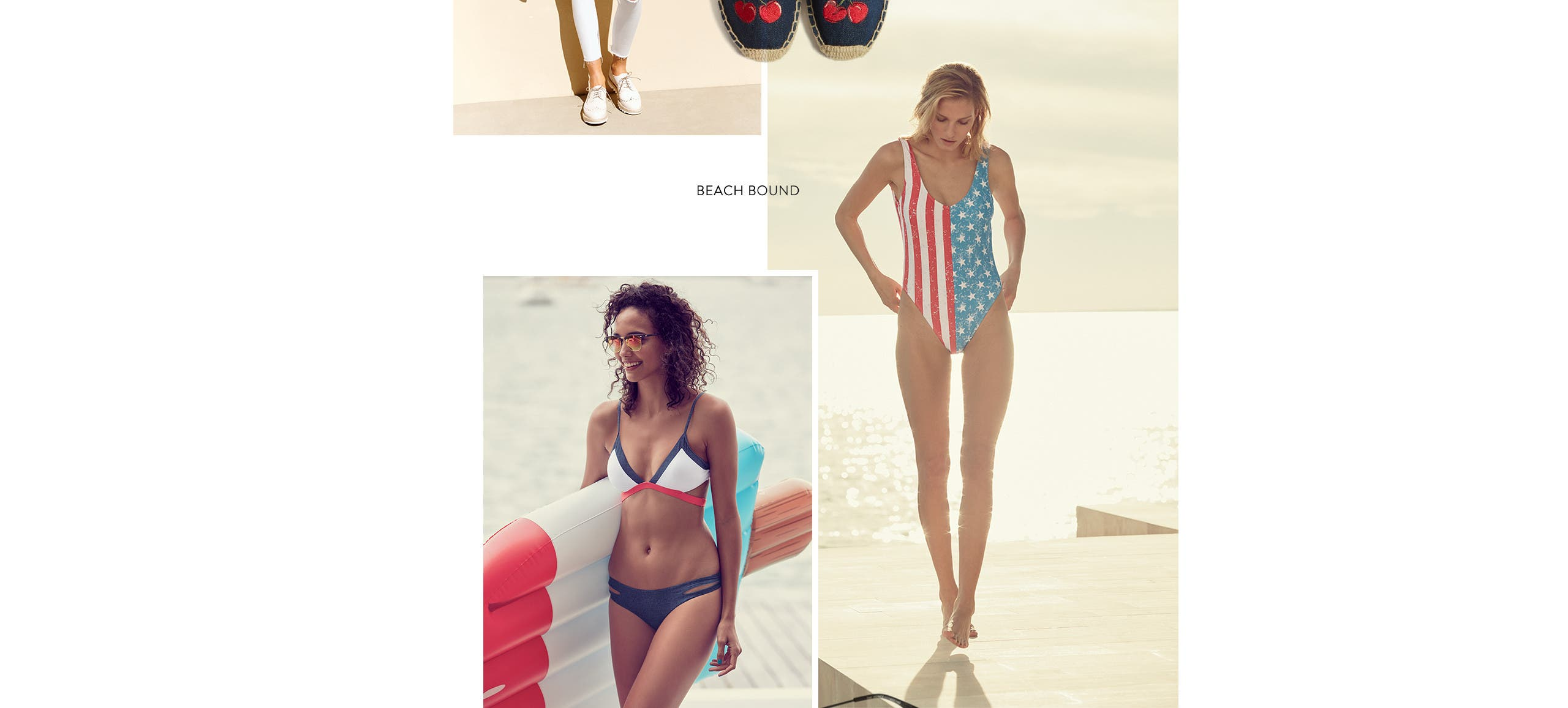 Beach bound in swimsuits and cover-ups.