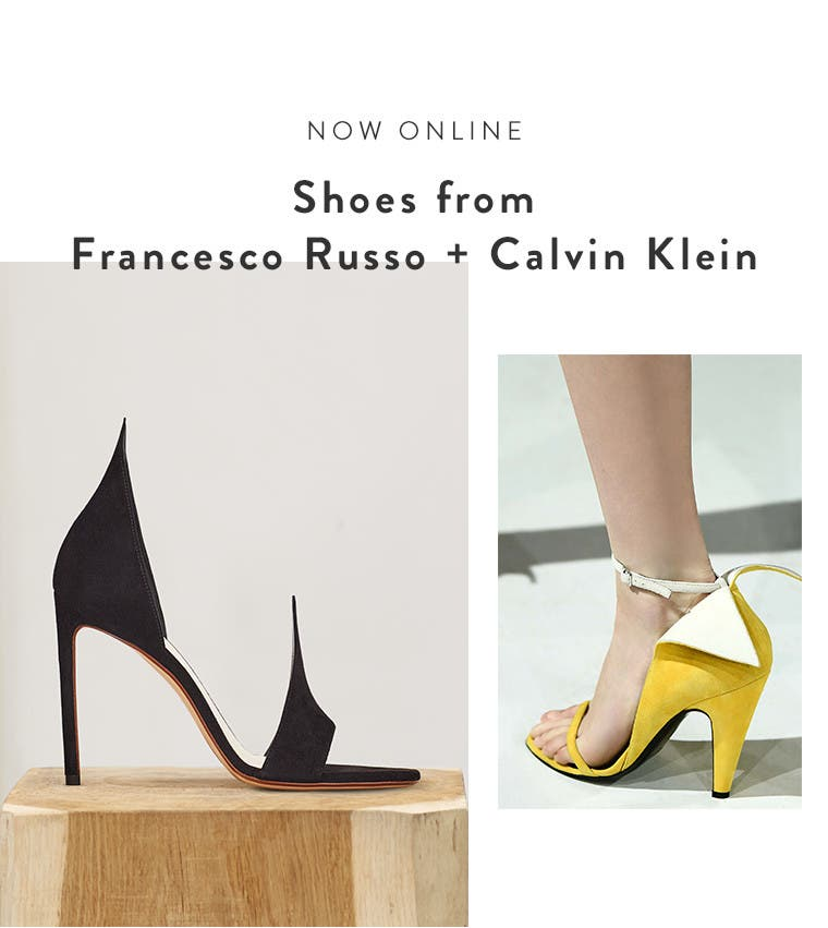 Now online: shoes from Francesco Russo and Calvin Klein 205W39NYC.