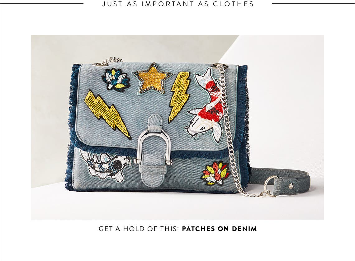Denim bags with beaded patches and more trendy styles.