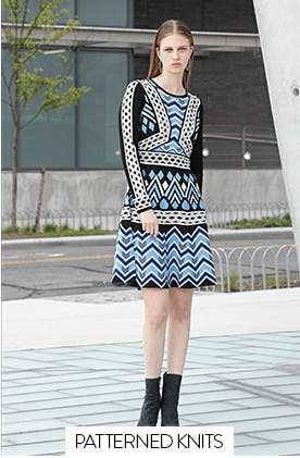 Work dresses in patterned knits.