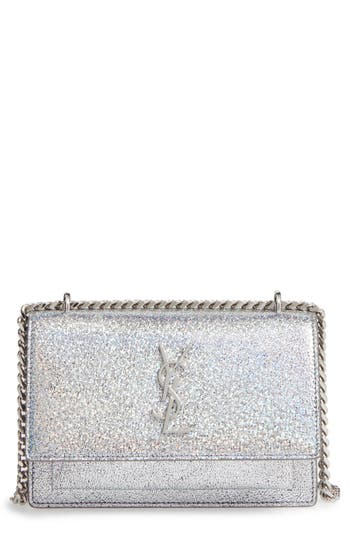 Saint Laurent Mini Sunset Crackle Metallic Leather Crossbody Bag -