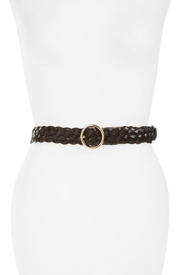 Women's Halogen Round Buckle Braided Leather Belt at NORDSTROM.com