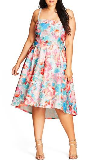 Plus Size City Chic Glass Floral Fit & Flare Dress