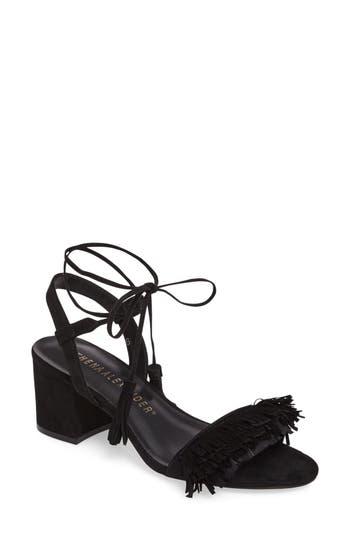 Women's Athena Alexander Fringed Ankle Wrap Sandal, Size 6 M - Black