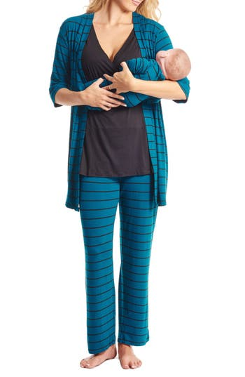 Women's Everly Grey Roxanne - During & After 5-Piece Maternity Sleepwear Set, Size X-Small - Blue/green